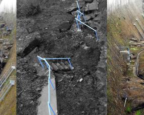 Os corrimões azuis da barragem