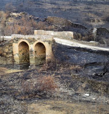 Ponte sobre terra queimada